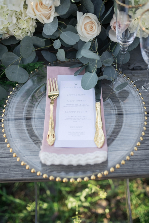 Elegant Forest Wedding Inspiration Place Setting
