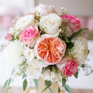 Pink, white, and gold centerpiece