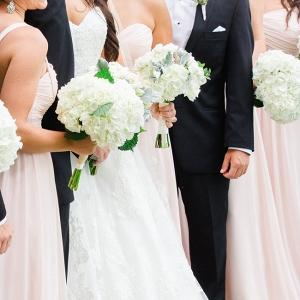 Pink Bridesmaids Dresses & Groomsmen In Black