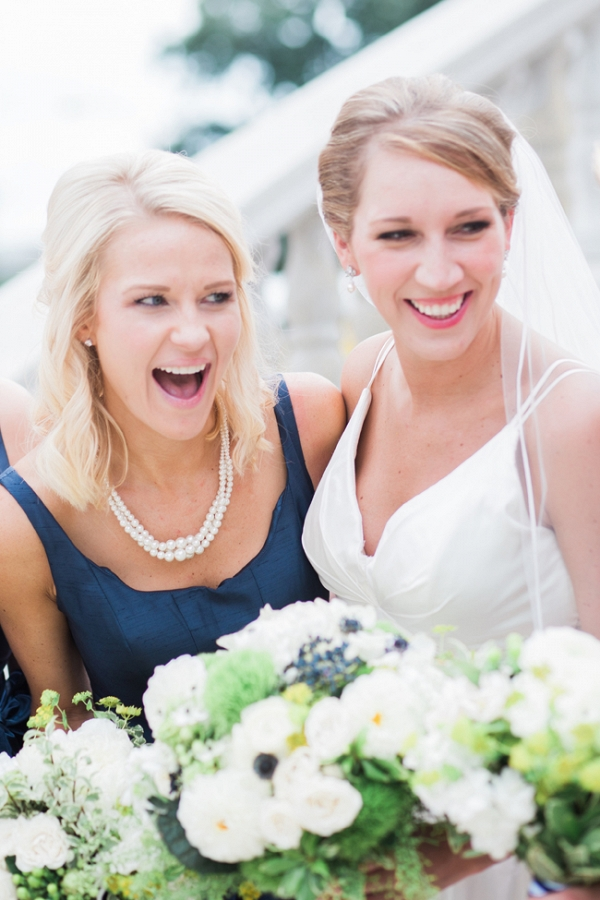 Bride with Bridesmaid in Navy Blue