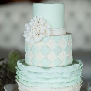 Mint and ivory tiered wedding cake