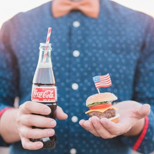 Coca Cola & Mini Burger with American Flag
