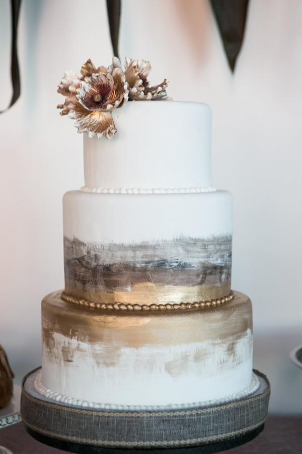 Gold and Ivory Painted Cake