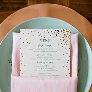 Gold Minted Wedding Menu
