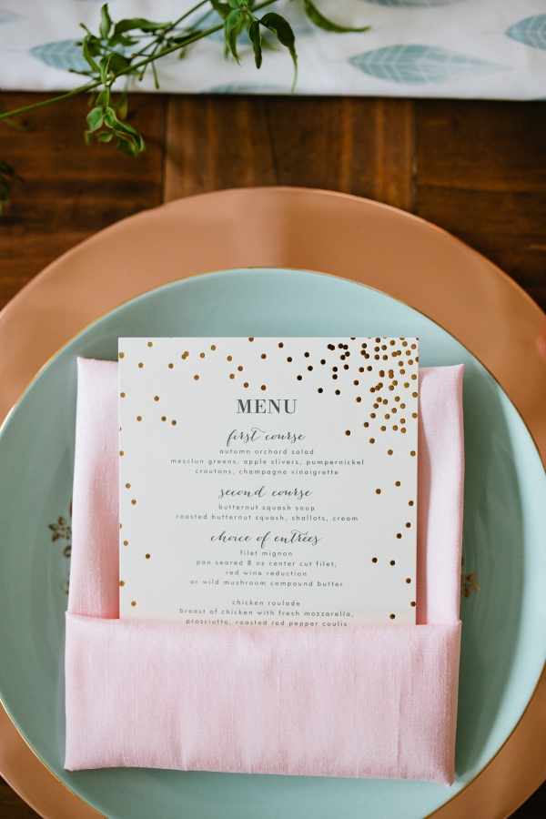 Gold Minted Wedding Menu