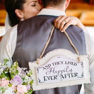 Bride & Groom with Handcrafted Sign