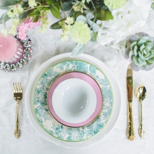 Pretty pink and blue china