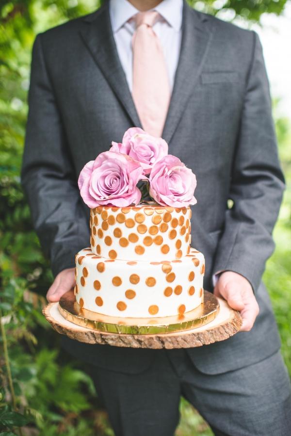 Gold polka dot cake