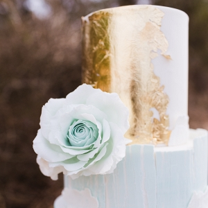 Mint & Gold Foil Wedding Cake