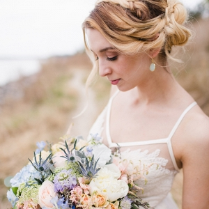 Romantic Bride with Pink & Blue Bouquet