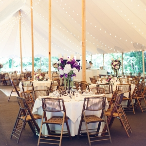 Tented Wedding Reception With String Lights