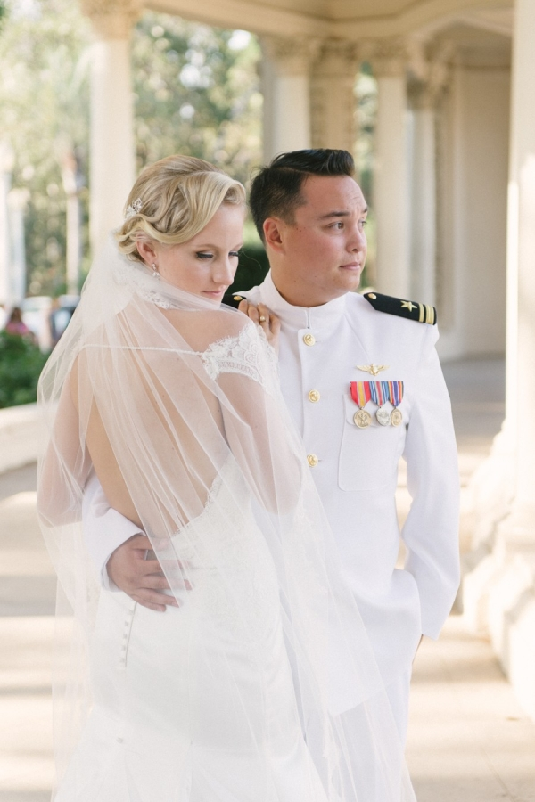 Military groom and bride