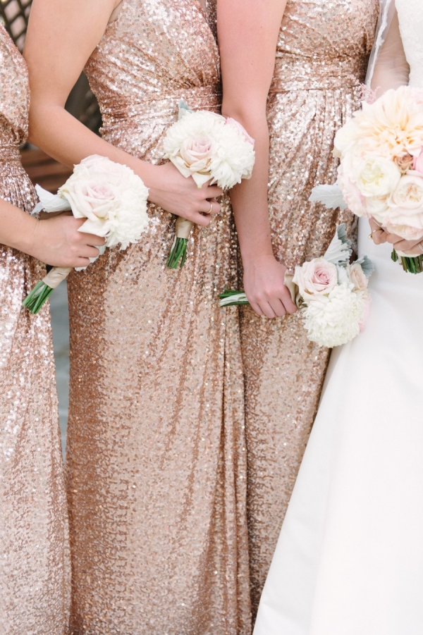 Gold sequins bridesmaids gowns
