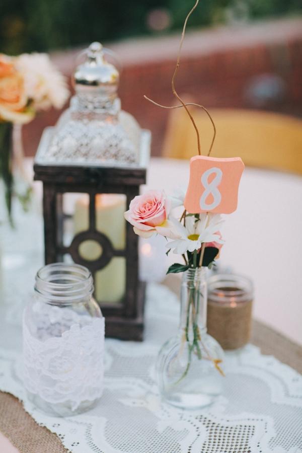 Lantern and simple flower centerpiece