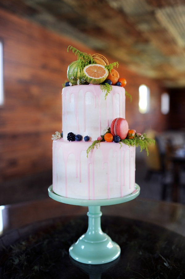 Two Tiered Wedding Cake with Fruit