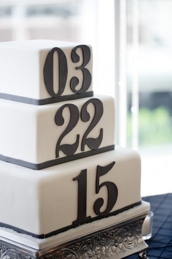 Dark blue and white wedding date cake