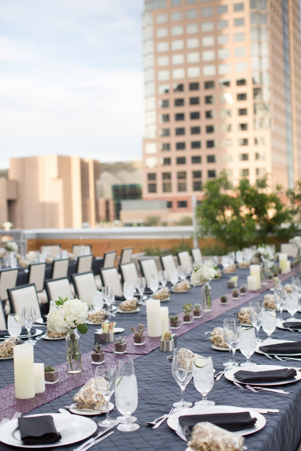 Long reception tables on rooftop