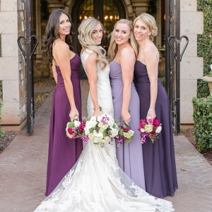 Bride with Bridesmaids in Shades of Purple