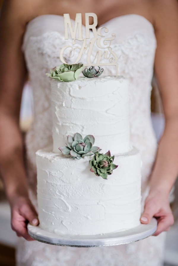 White cake with succulents