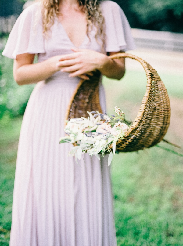 Bride with basket of flowers