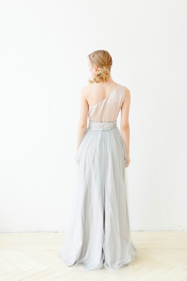 Back view of two-toned bridal gown
