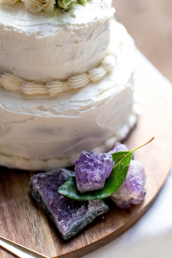 Ivory cake with amethyst crystals