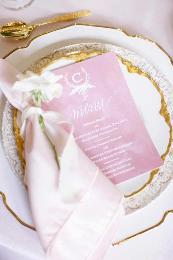 Pink Wedding Invitations on Gold Rimmed China
