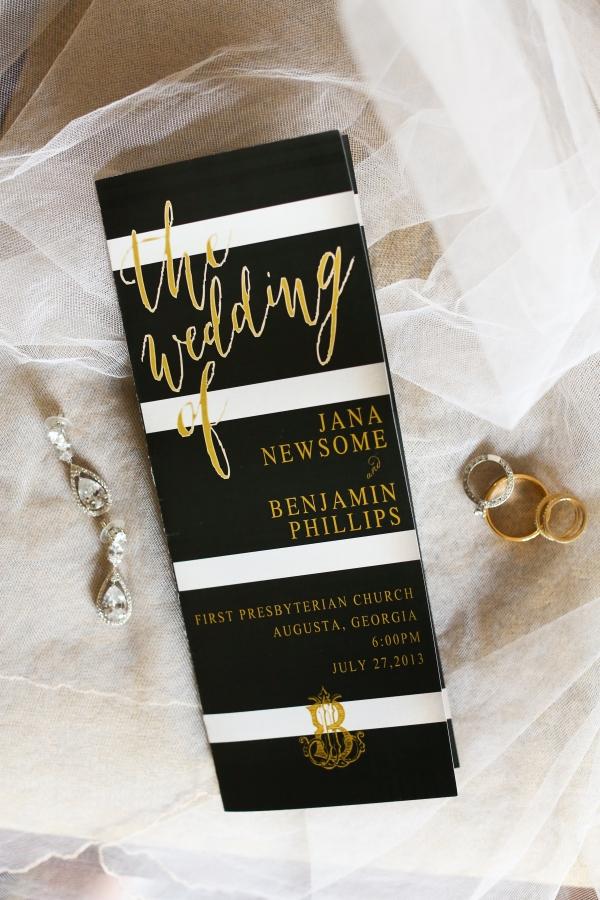 Black, white and gold wedding invitation