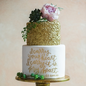 Gold Sparkles Two Tiered Wedding Cake