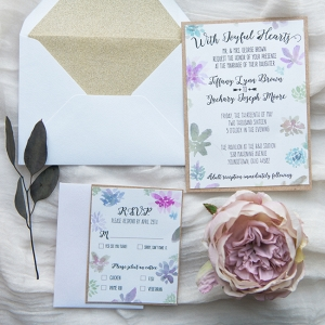 Blush, Gold & Blue Wedding Invitations