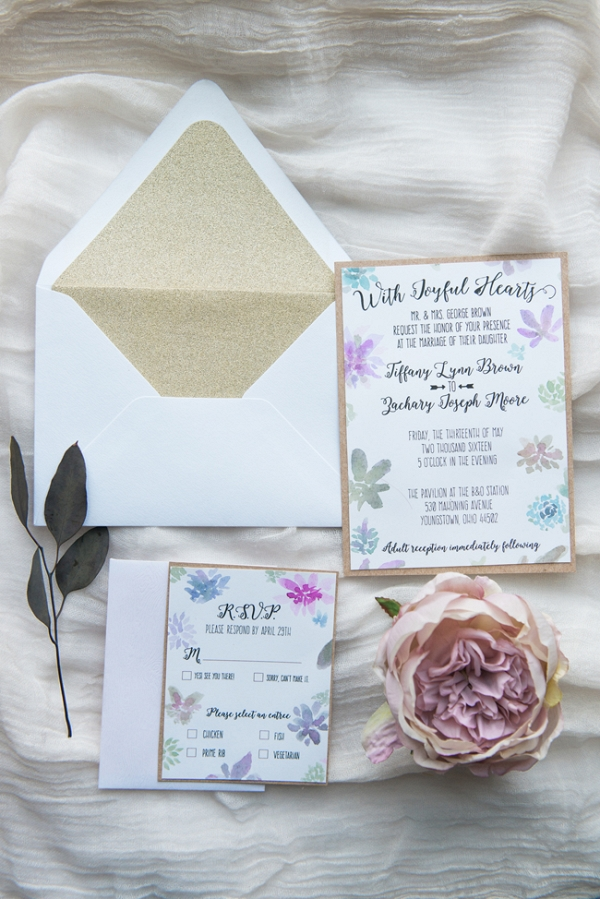 Blush, Gold & Blue Wedding Invitations