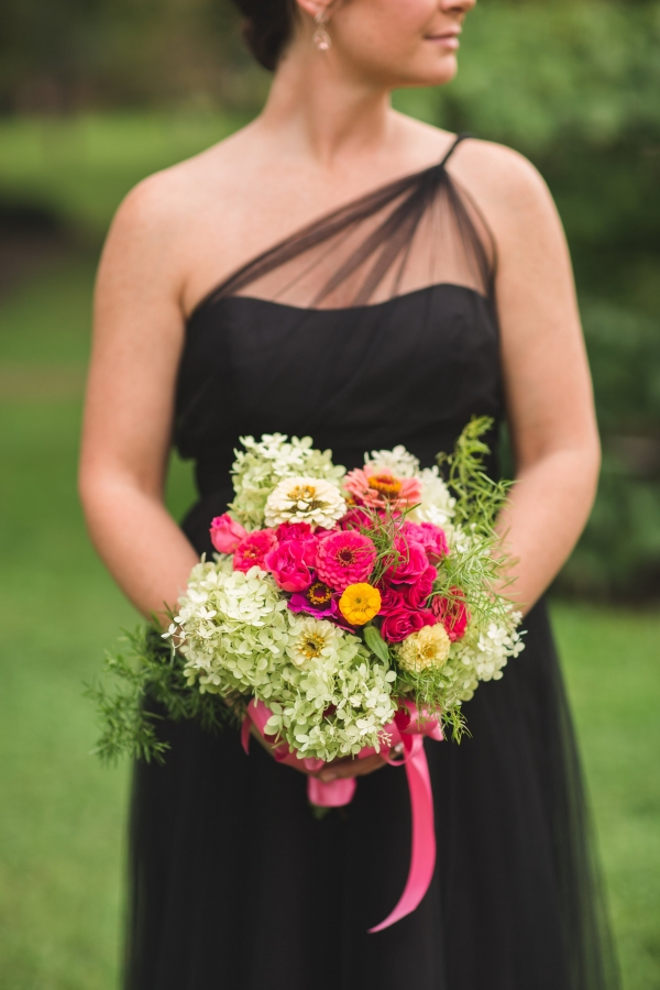 Black One Shoulder Dress With Colorful Bouquet