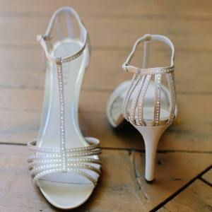 Pretty Ivory And Sparkles Strapped Shoes