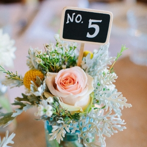 Chalkboard Sign In Colored Glass Table Numbers