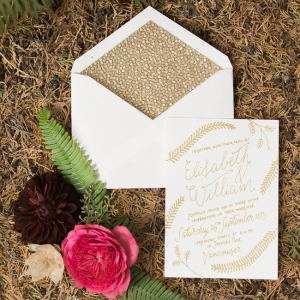 Romantic gold and ivory wedding invitations