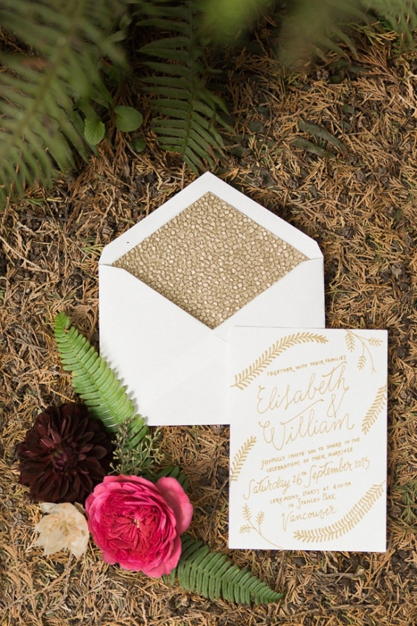 Romantic gold and ivory wedding invitations