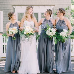 Coastal bride with bridesmaids in gray