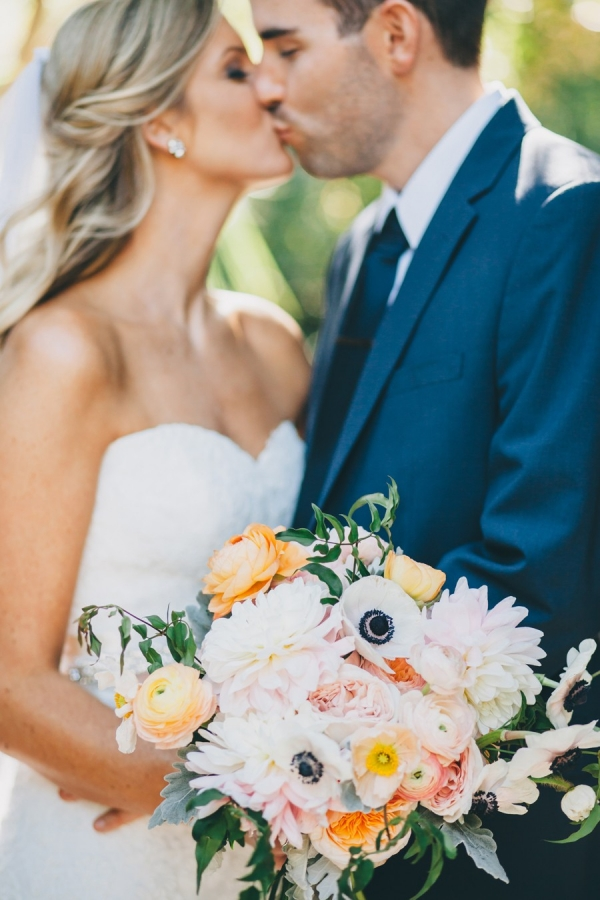 Charming peach, ivory and white bouquet