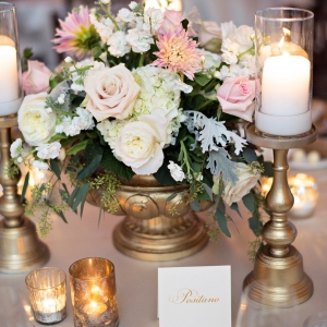 Blush, ivory and gold reception details