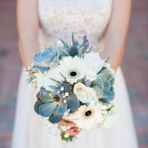 Succulent, Gerber Daisy, and lavender wedding bouquet