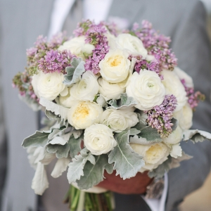 Lilac and ivory bridal bouquet