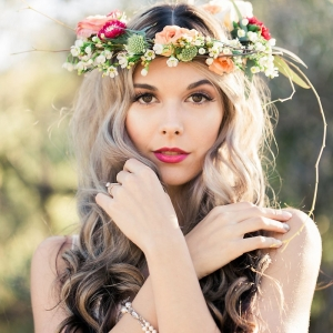 Bride in desert with floral crown