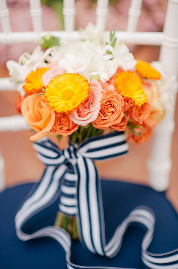 Orange and Navy Blue citrus wedding inspiration