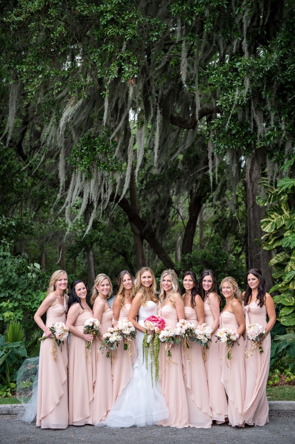 Elegant southern bride with pretty bridesmaids in blush dresses