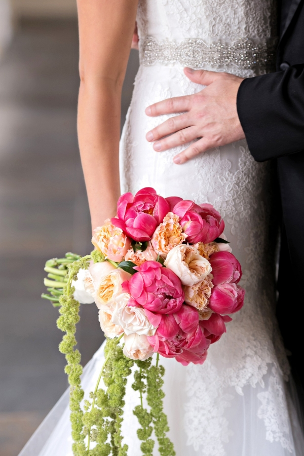 Pretty pink peony and blush cabbage rose bouquet