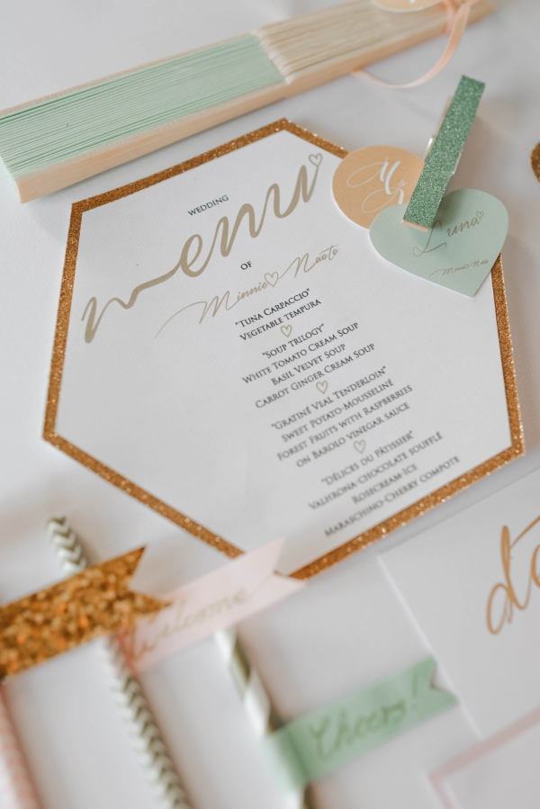 Gold and mint wedding details