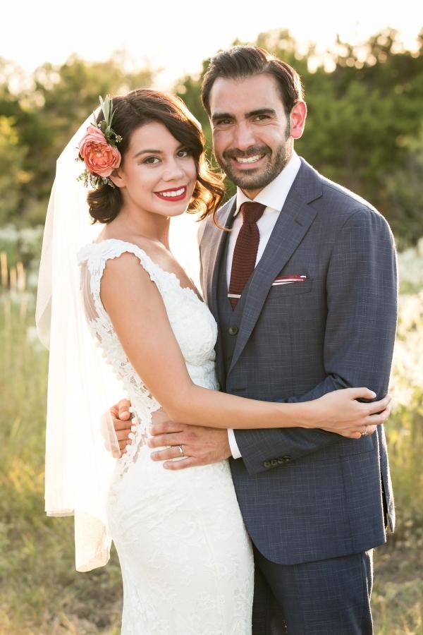 Stylish wine and gray wedding couple