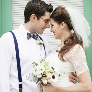 Vintage style bride and groom in railway wedding inspiration