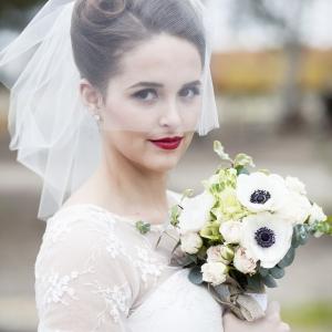 Bride in vintage railway wedding inspiration
