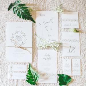 Olive leaf pattern wedding invitation suite